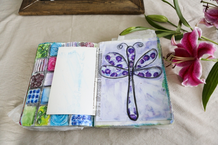 blueberry dragonfly art journal