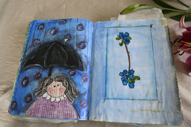 raining blueberry art journal
